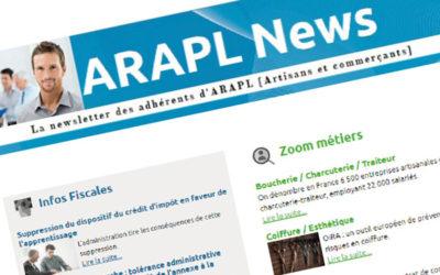 ARAPL NEWS – LA NEWSLETTER DES ARTISANS ET COMMERÇANTS